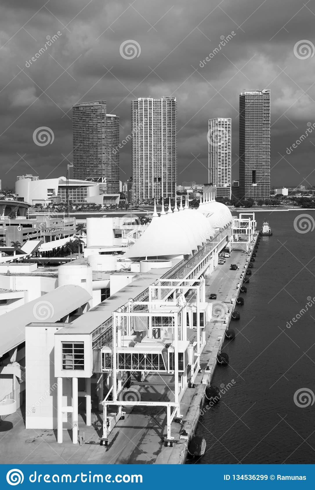 Miami Cruise Ship Port. The view of cruise ship terminal with Miami downtown skyline in a background Florida royalty free stock images