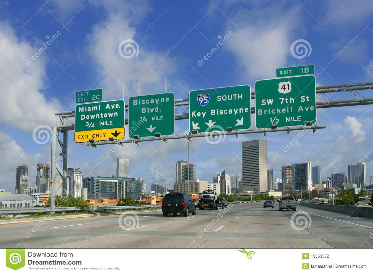 Miami Downtown Florida Road Signs Stock Photography - Image: 13363572