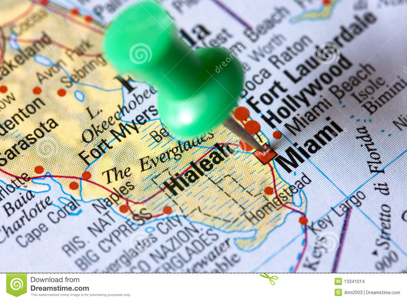 Miami Florida On The Map Stock Images Image - Map of miami florida