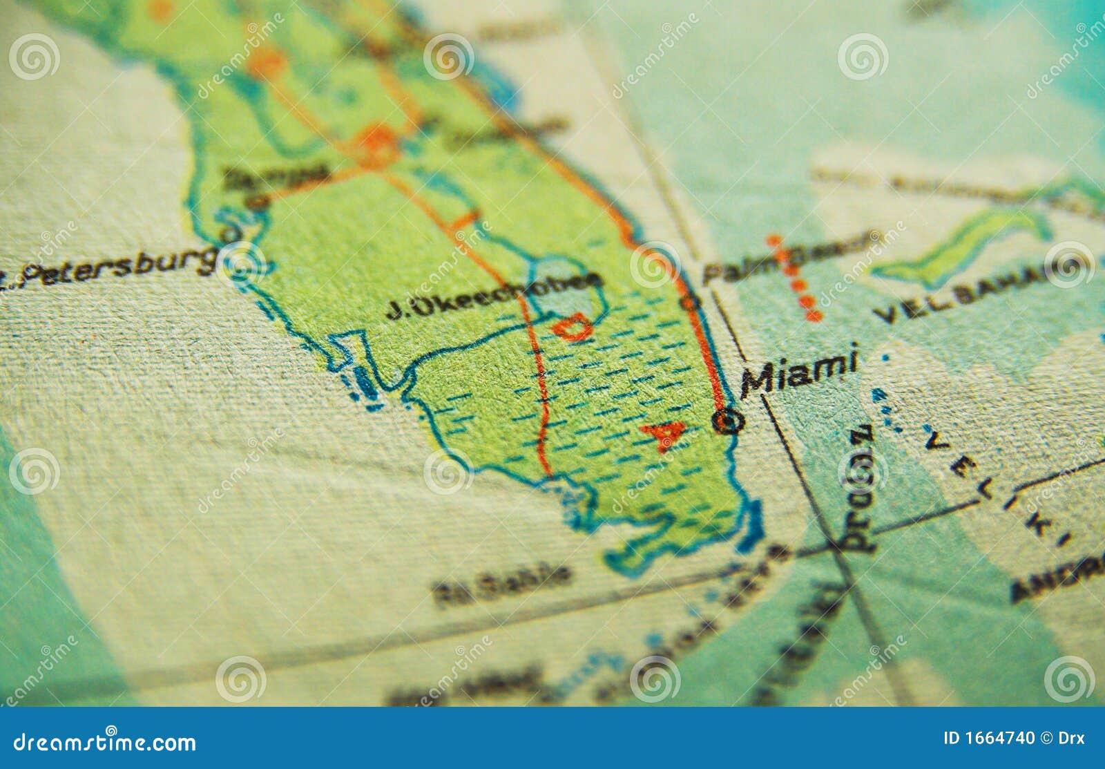 Miami Florida Map Stock Photo Image Of Town Ocean States 1664740