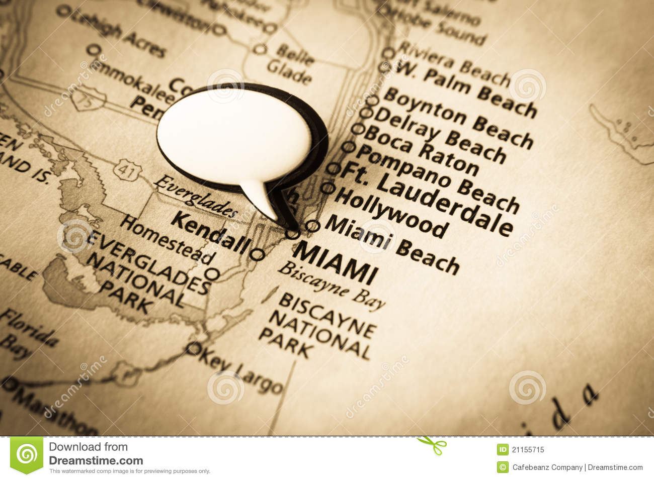 Miami Florida Map Stock Photo Image - Map of miami florida