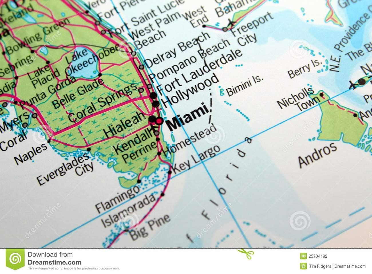 Miami, Florida map stock photo. Image of atlas, geography - 25704182