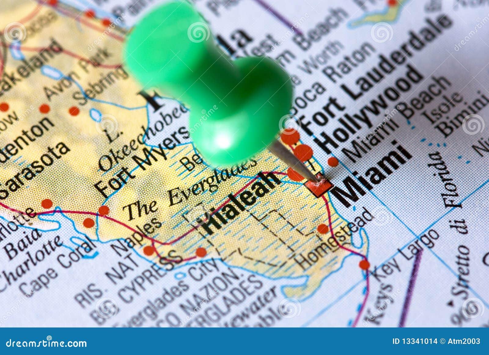 miami - florida - no mapa foto de stock. imagem de guia