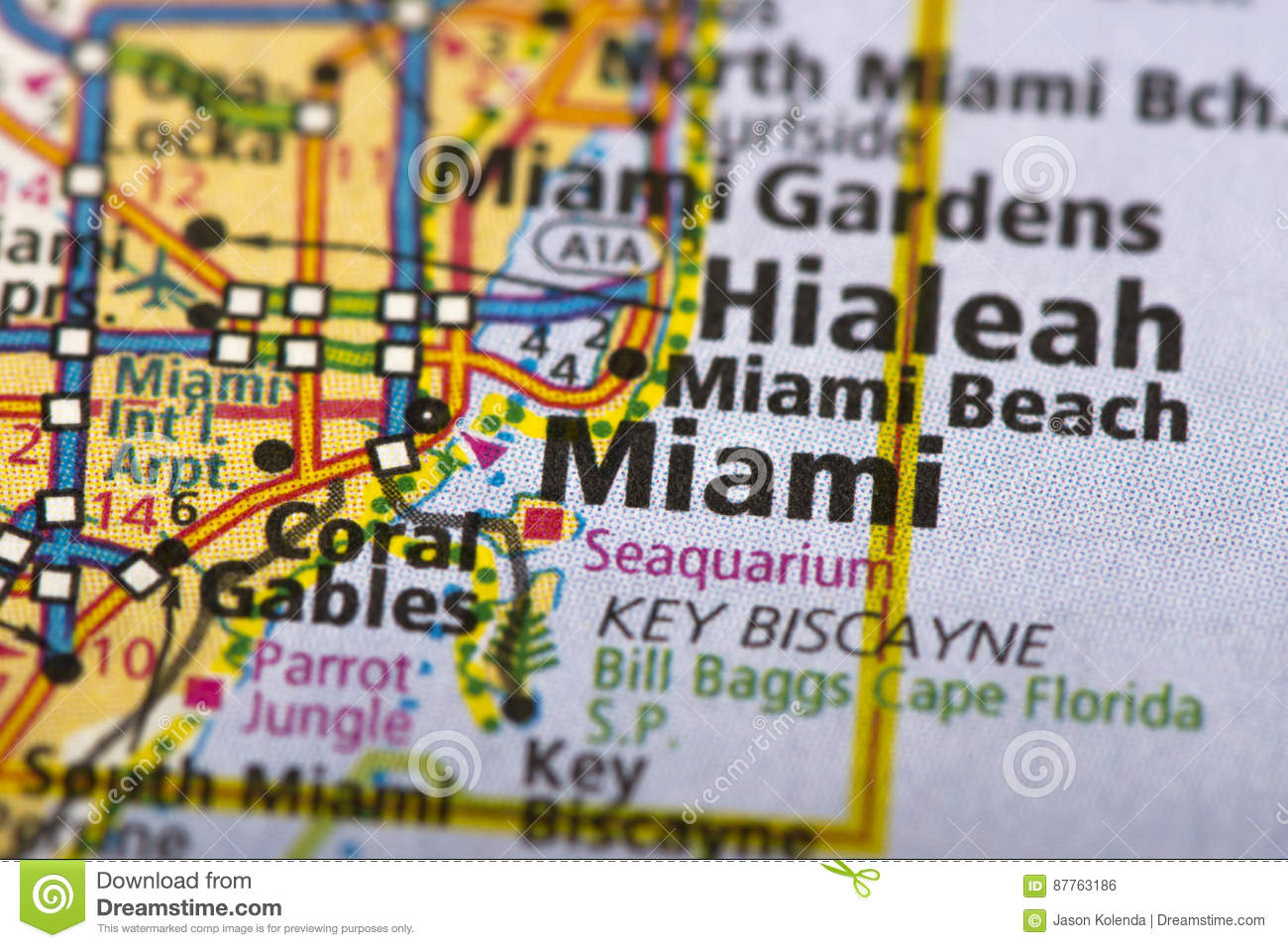 miami, florida no mapa foto de stock. imagem de papel - 87763186