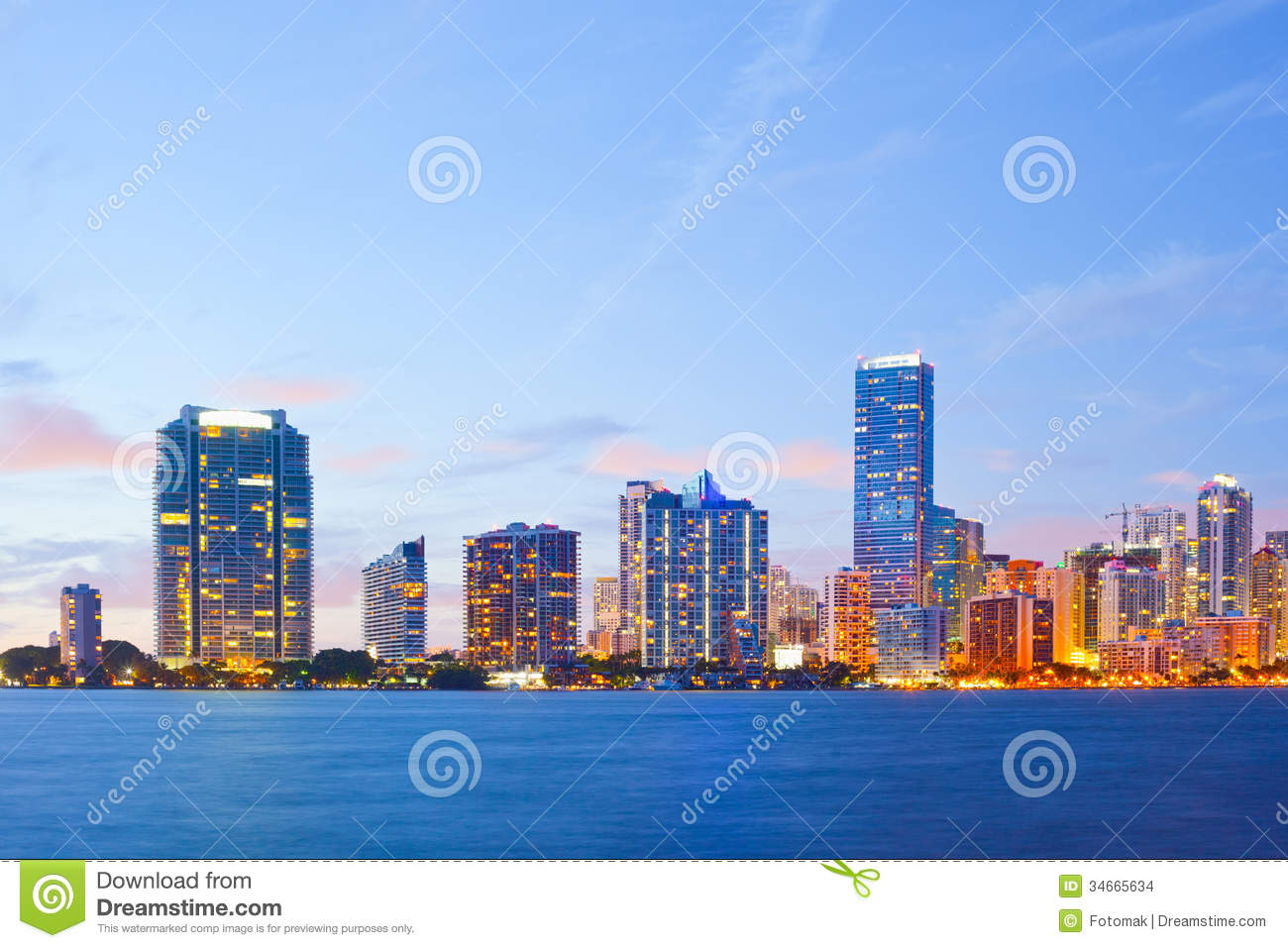 Miami florida sunset over downtown buildings stock photo for Luxury hotels all over the world