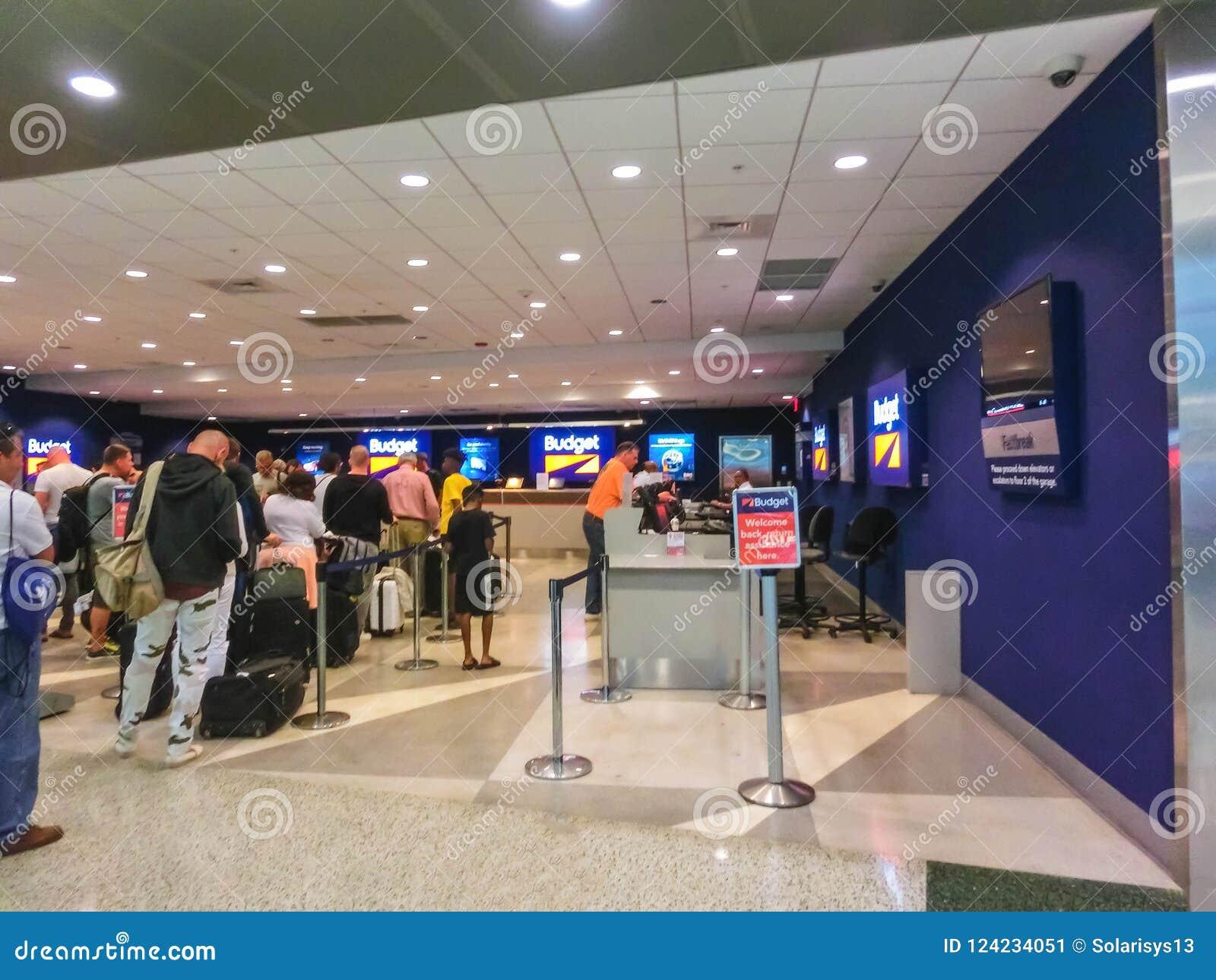 Miami, Florida, USA - Aprile 28, 2018: The Budget rental car office at Miami airport
