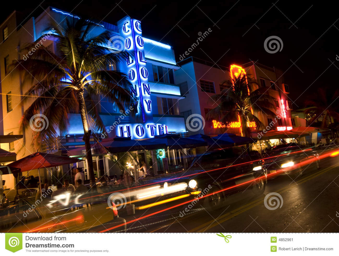 Miami Hotel Night Scene Ocean Drive Editorial Photo