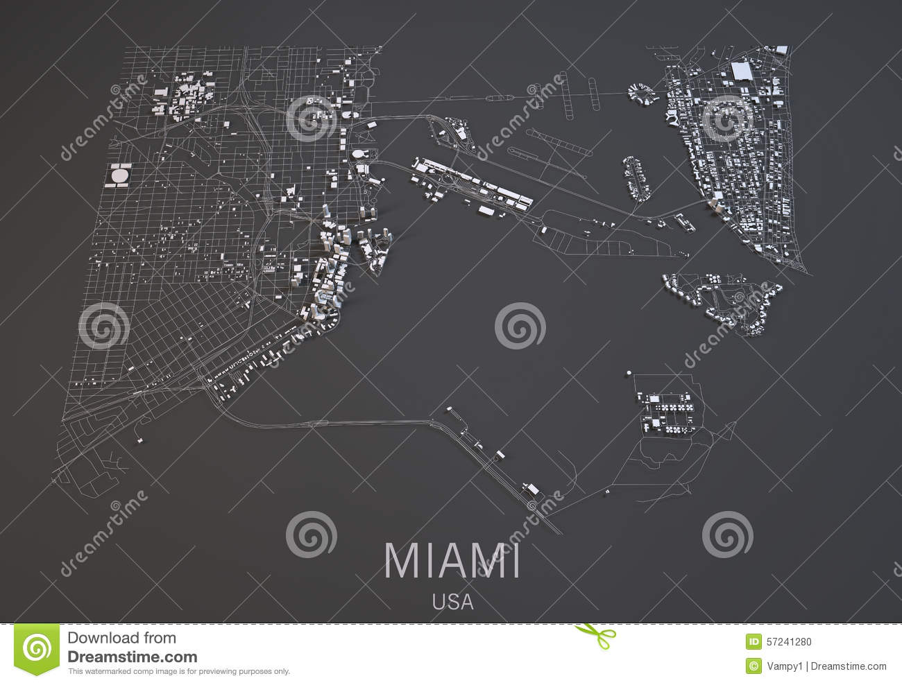 Miami Map, Usa, Satellite View Stock Illustration ... on black and white portraits of women, latitude and longitude of usa, black and white map of asia,