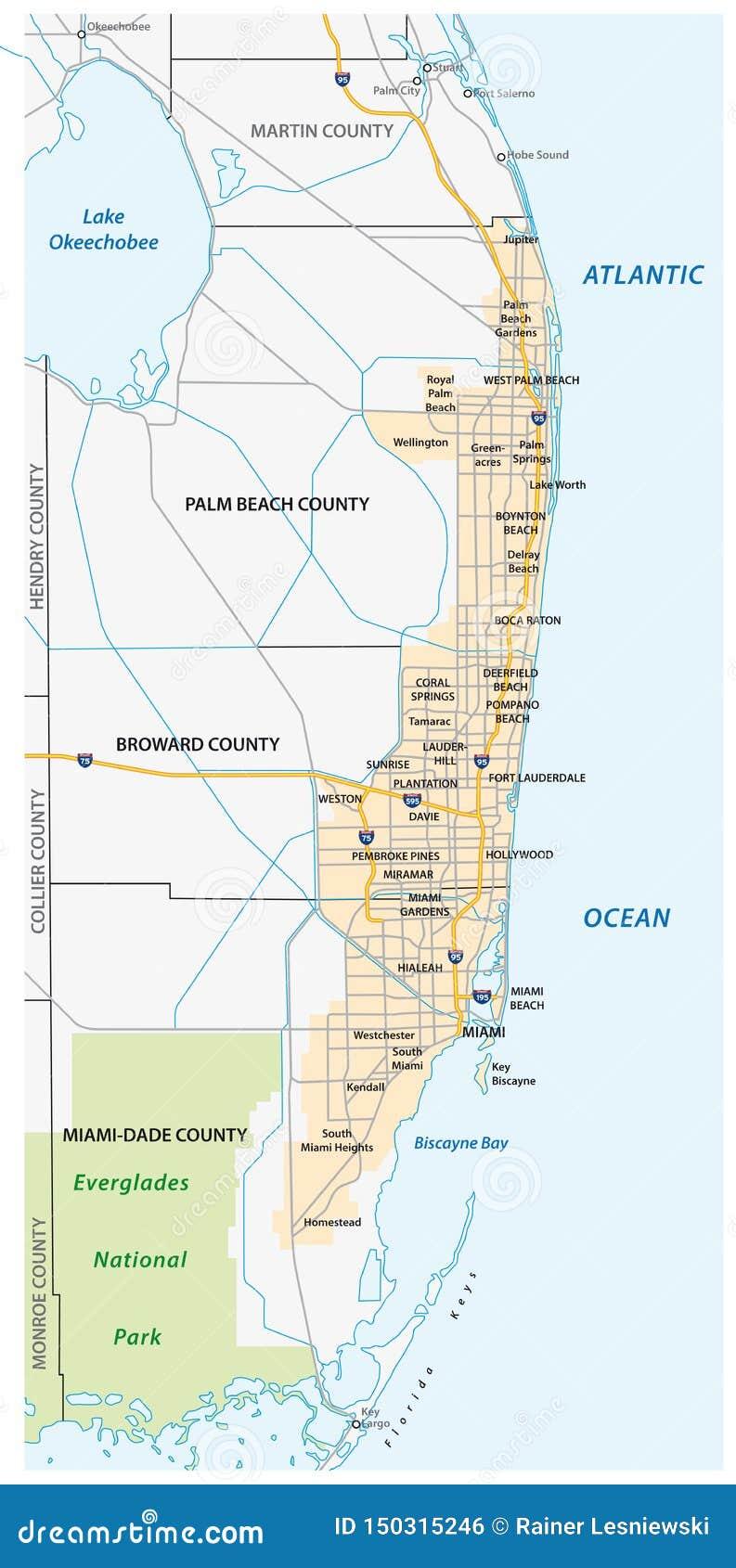 miami metropolitan area or greater miami area map stock