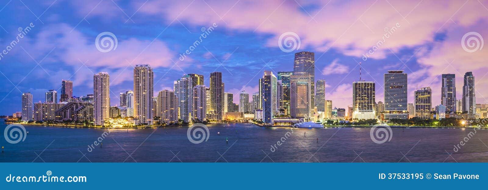 miami skyline stock image  image of dade  cityscape  dusk