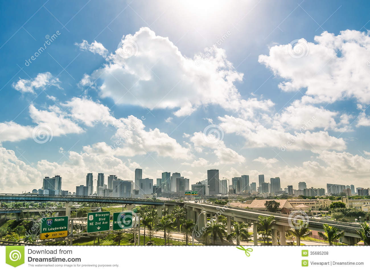 Miami Skyline And Highways Daytime Royalty Free Stock Photos - Image ...