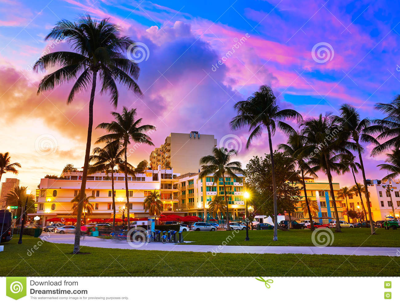 miami south beach sunset ocean drive florida stock photo image of