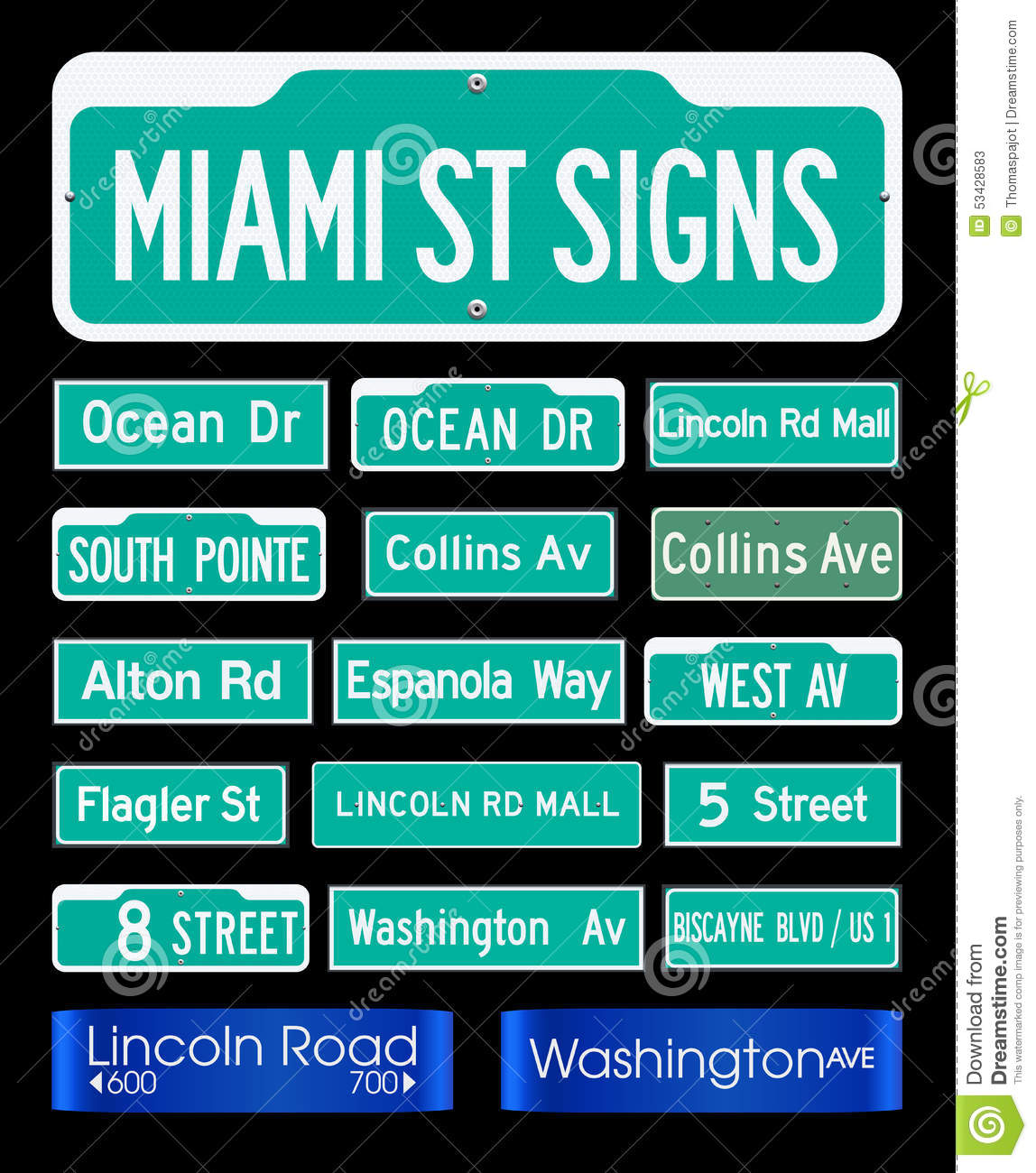 Miami street signs stock vector illustration of replica 53428583 miami street signs biocorpaavc Choice Image