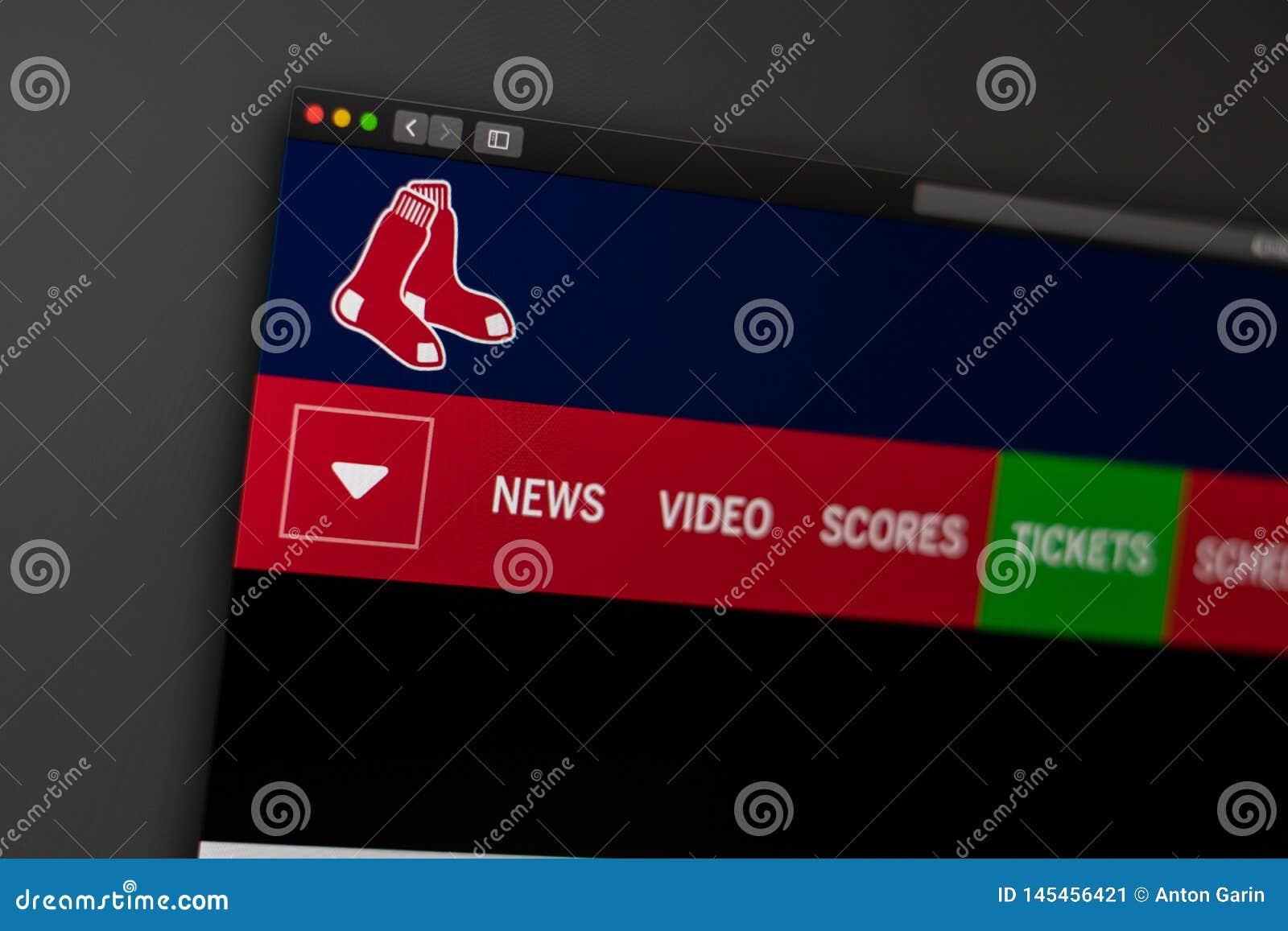 Baseball team Boston Red Sox website homepage. Close up of team logo.