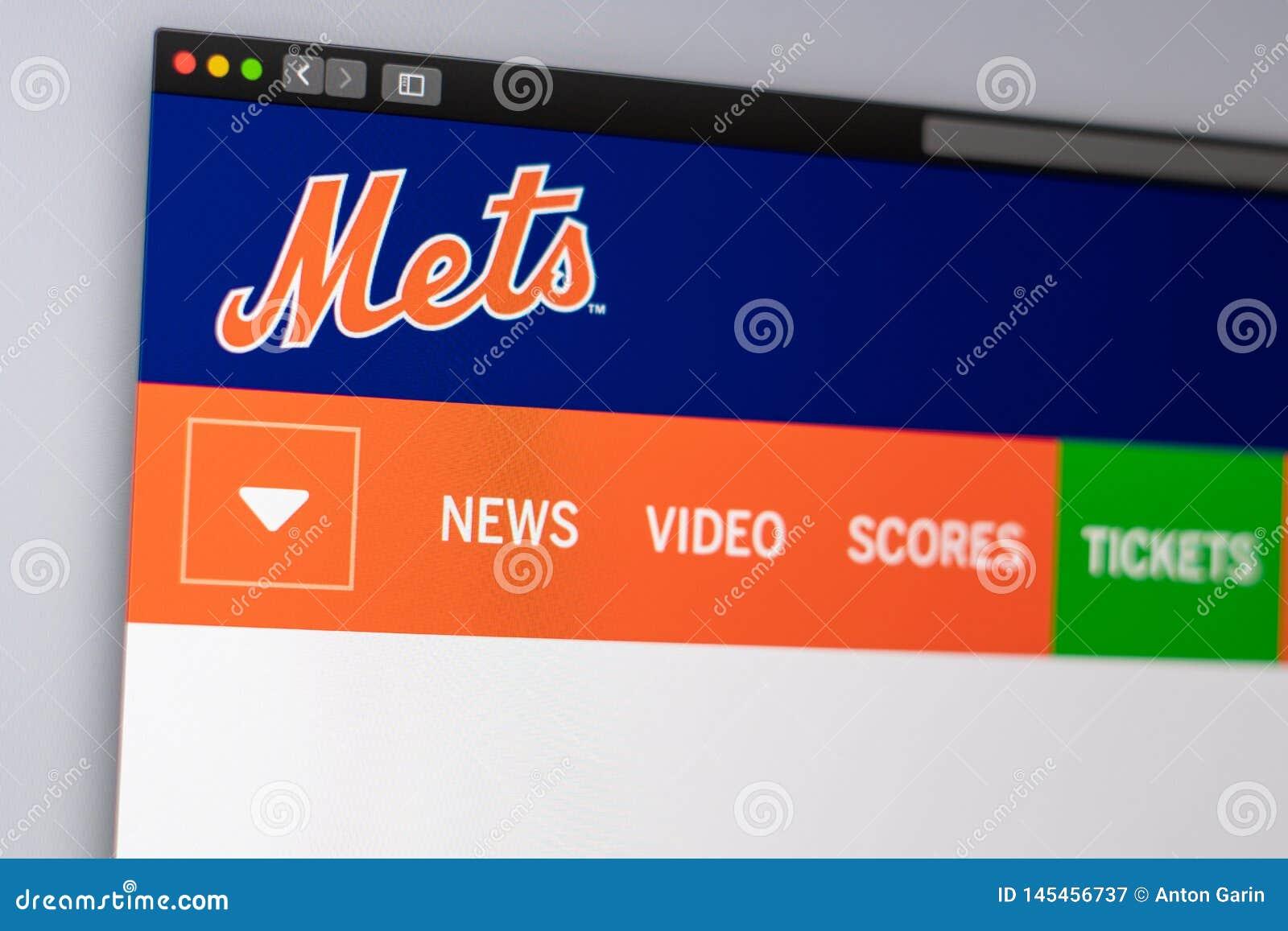 Baseball team New York Mets website homepage. Close up of team logo
