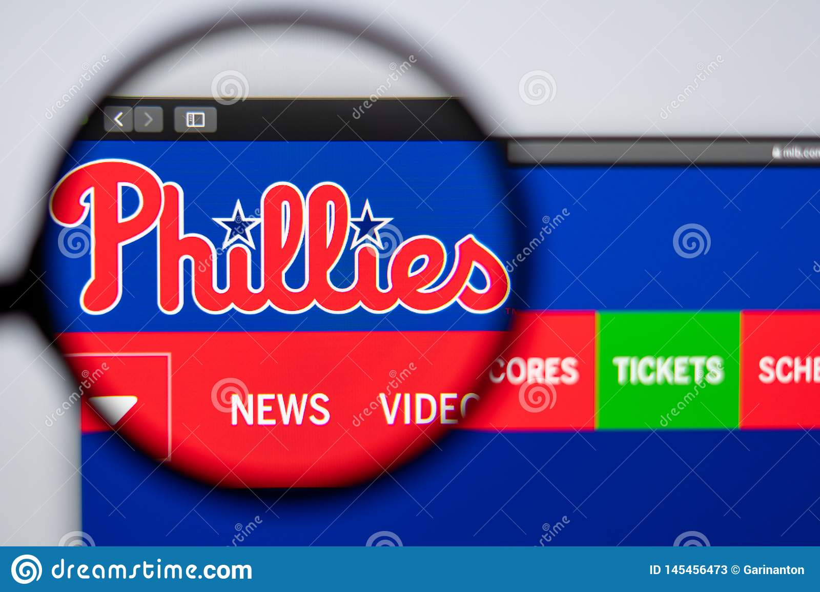 Baseball team Philadelphia Phillies website homepage. Close up of team logo.