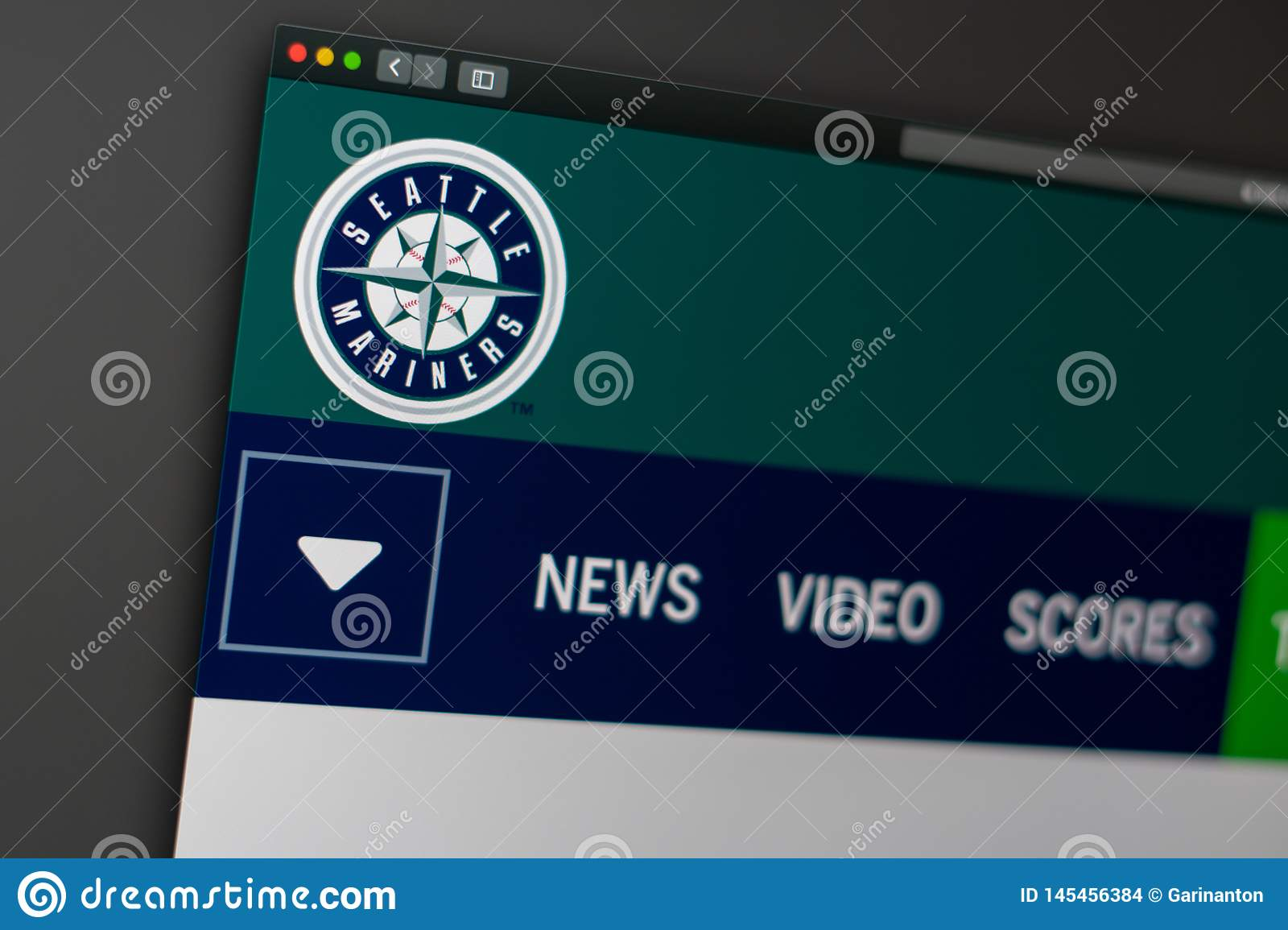Baseball team Seattle Mariners website homepage. Close up of team logo.
