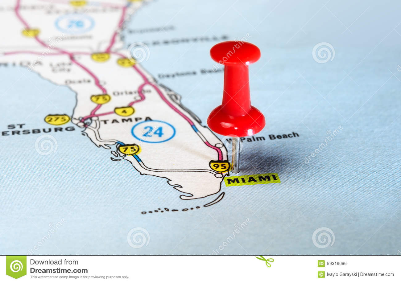 Pushpin Miami Florida Map Stock Photo Image - Map of miami florida