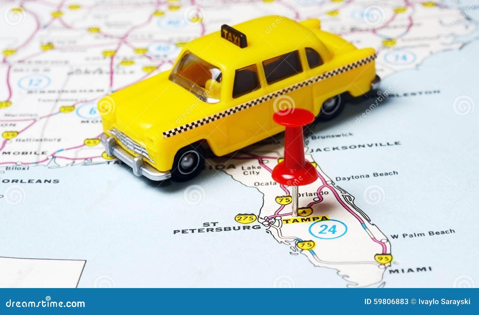 Tampa Florida Usa Map.Miami Usa Map Taxi Stock Image Image Of Navigation Auto 59806883