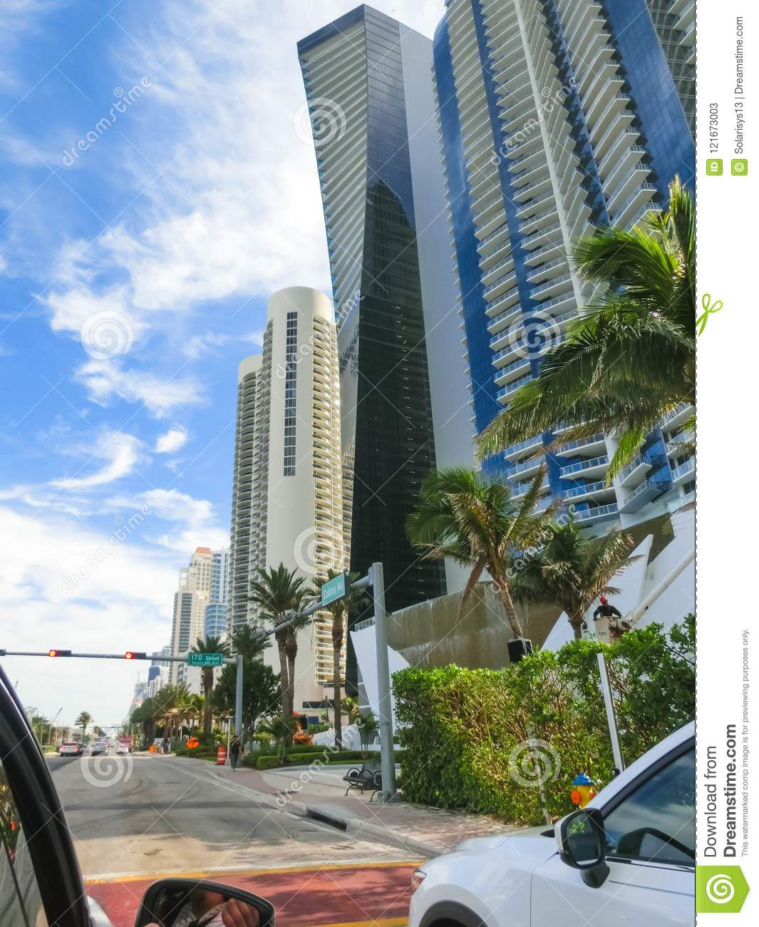 Miami, Usa - May 07,2018: Modern Apartment Buildings With ...