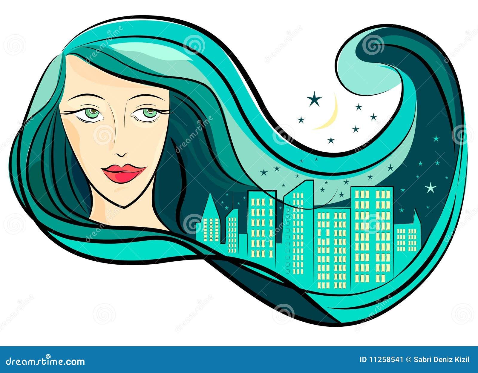 Miasta dziewczyny włosy wektor