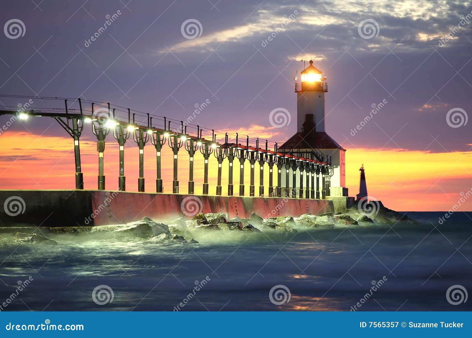Miasta Indiana latarnia morska Michigan