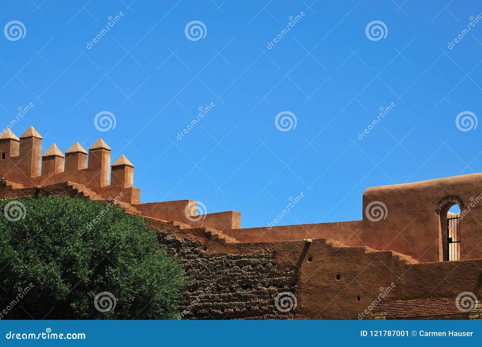 Miasto ściany Chellah blisko Rabat, Maroko