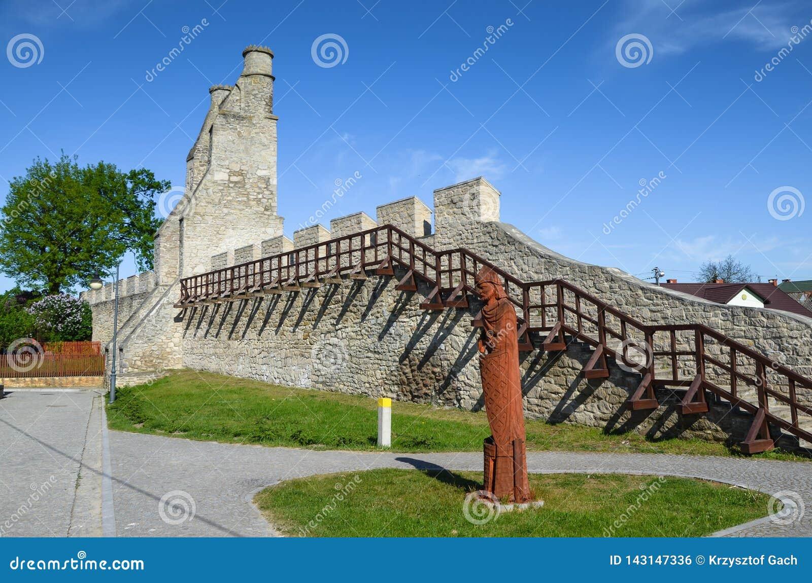 Miasto ściany i Krakowska brama, Szydlow, Polska