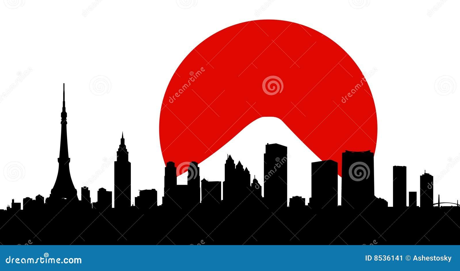 Miasto linii horyzontu Tokyo chorągwiany wektor