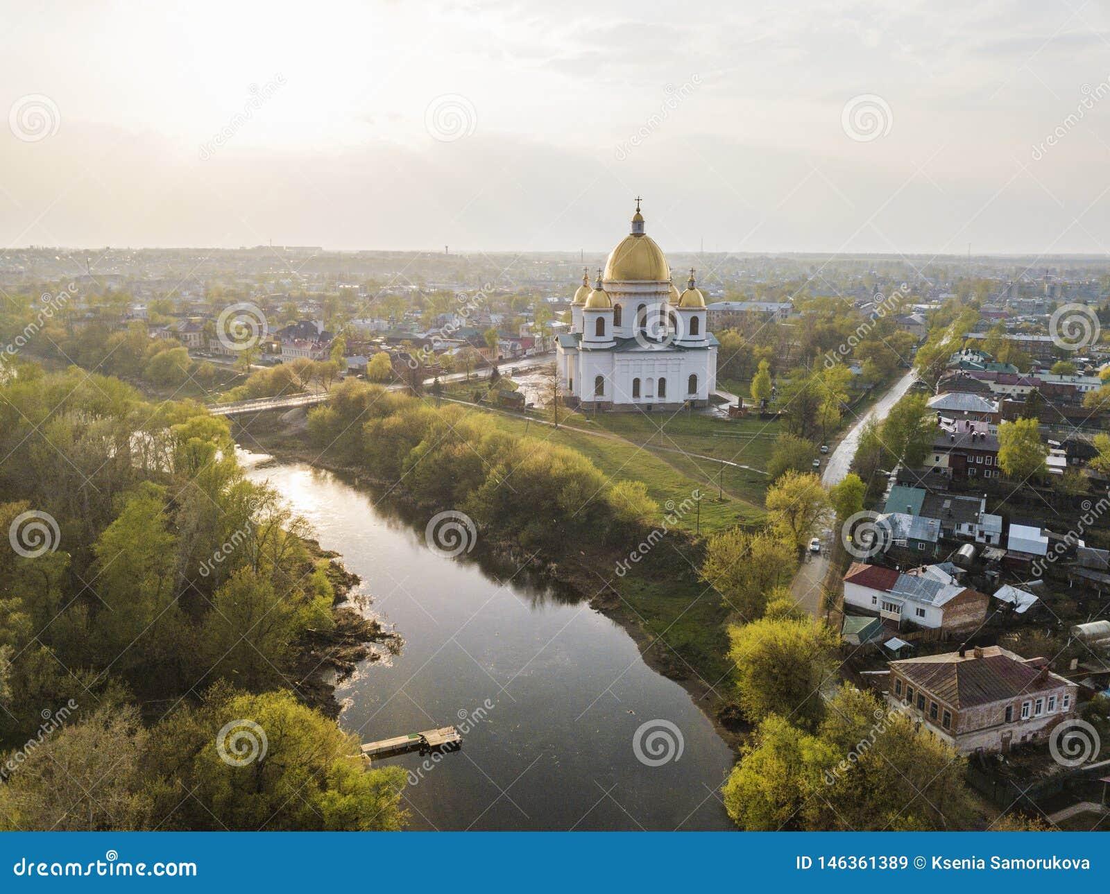 Miasto Morshansk Wiosny widok z lotu ptaka Rosja Tr?jcy katedra Rzeczny Tsna