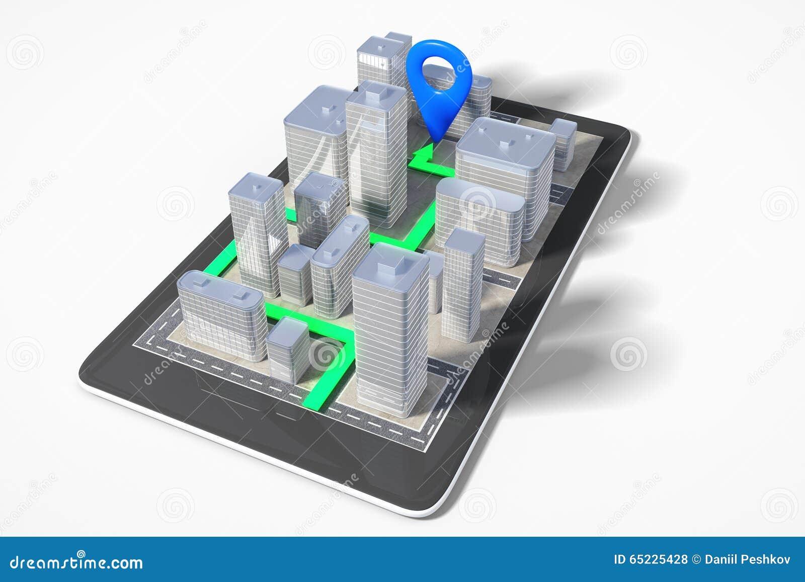 Miasto nawigaci pojęcie z telefonem komórkowym z 3D budynkami i pa