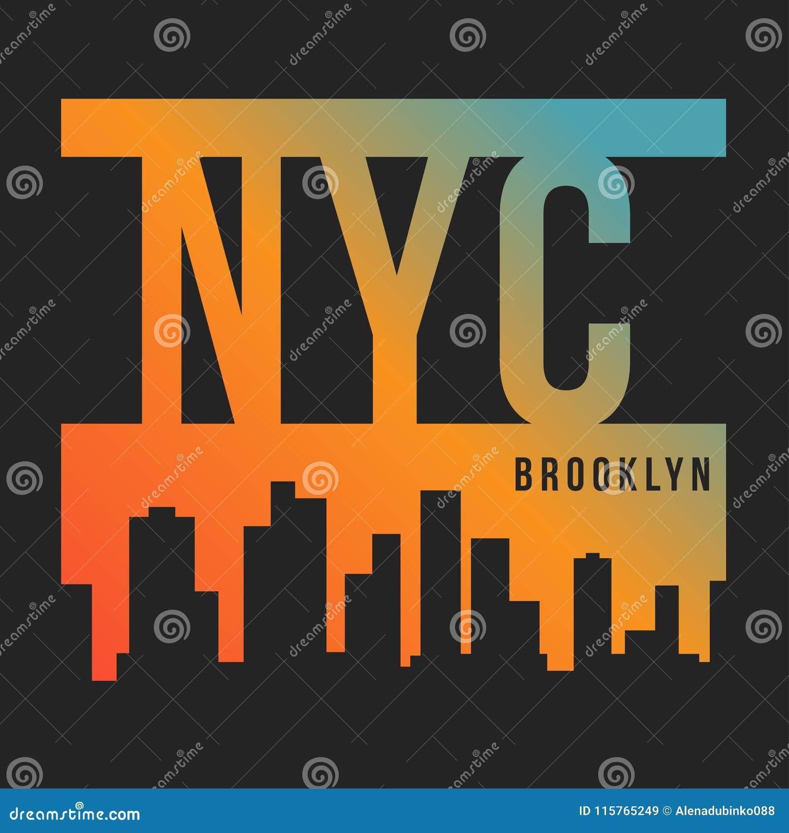 Miasto Nowy Jork, Brooklyn dla koszulka druku Nowy Jork linii horyzontu sylwetka Koszulek grafika