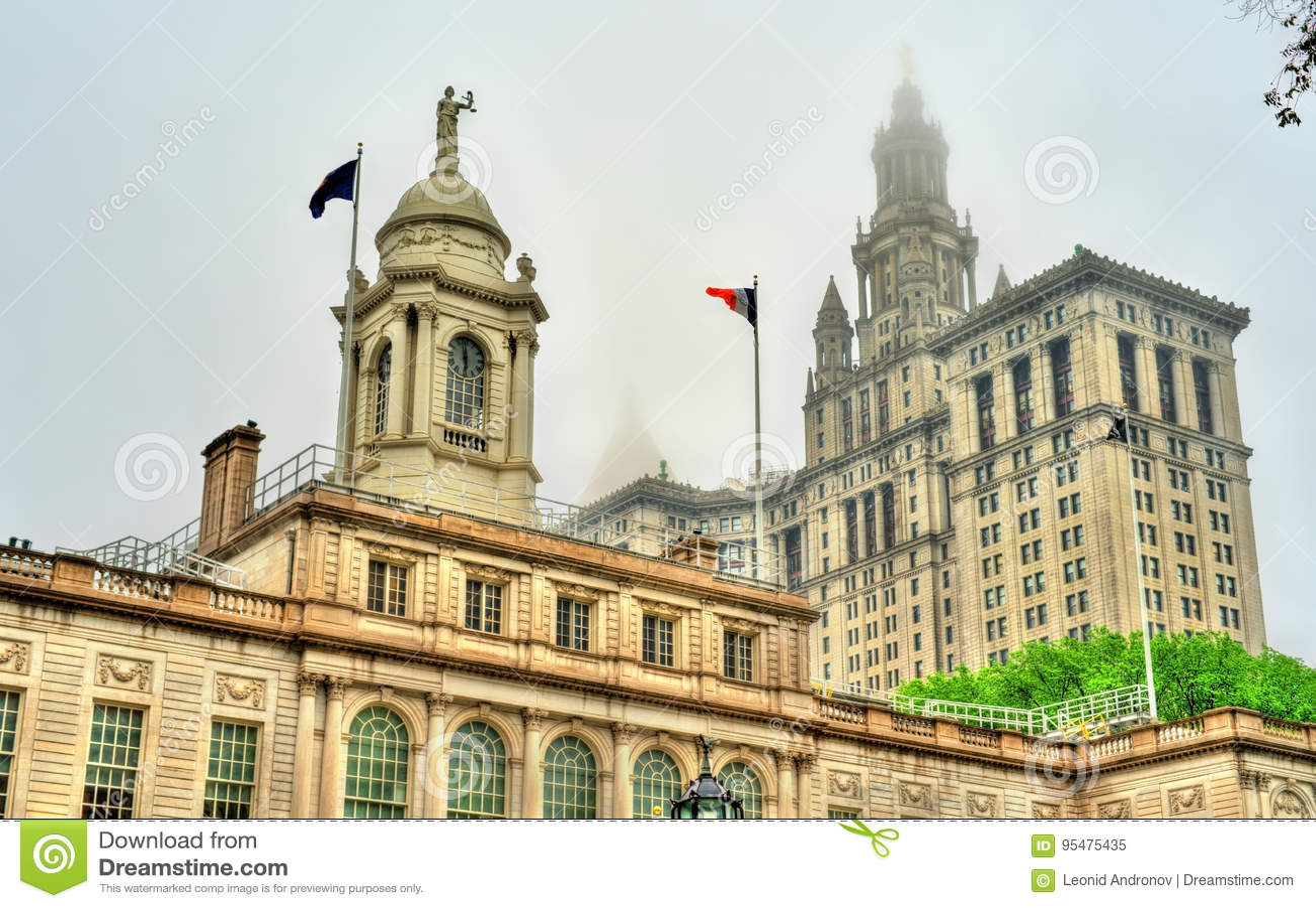 Miasto Nowy Jork Hall i Manhattan Miejski budynek