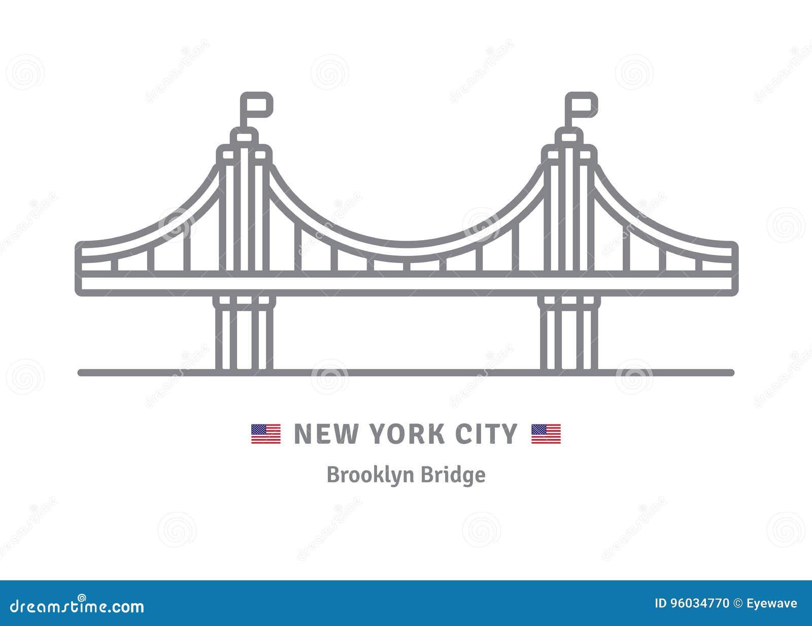 Miasto Nowy Jork ikona z mostem brooklyńskim i USA flaga