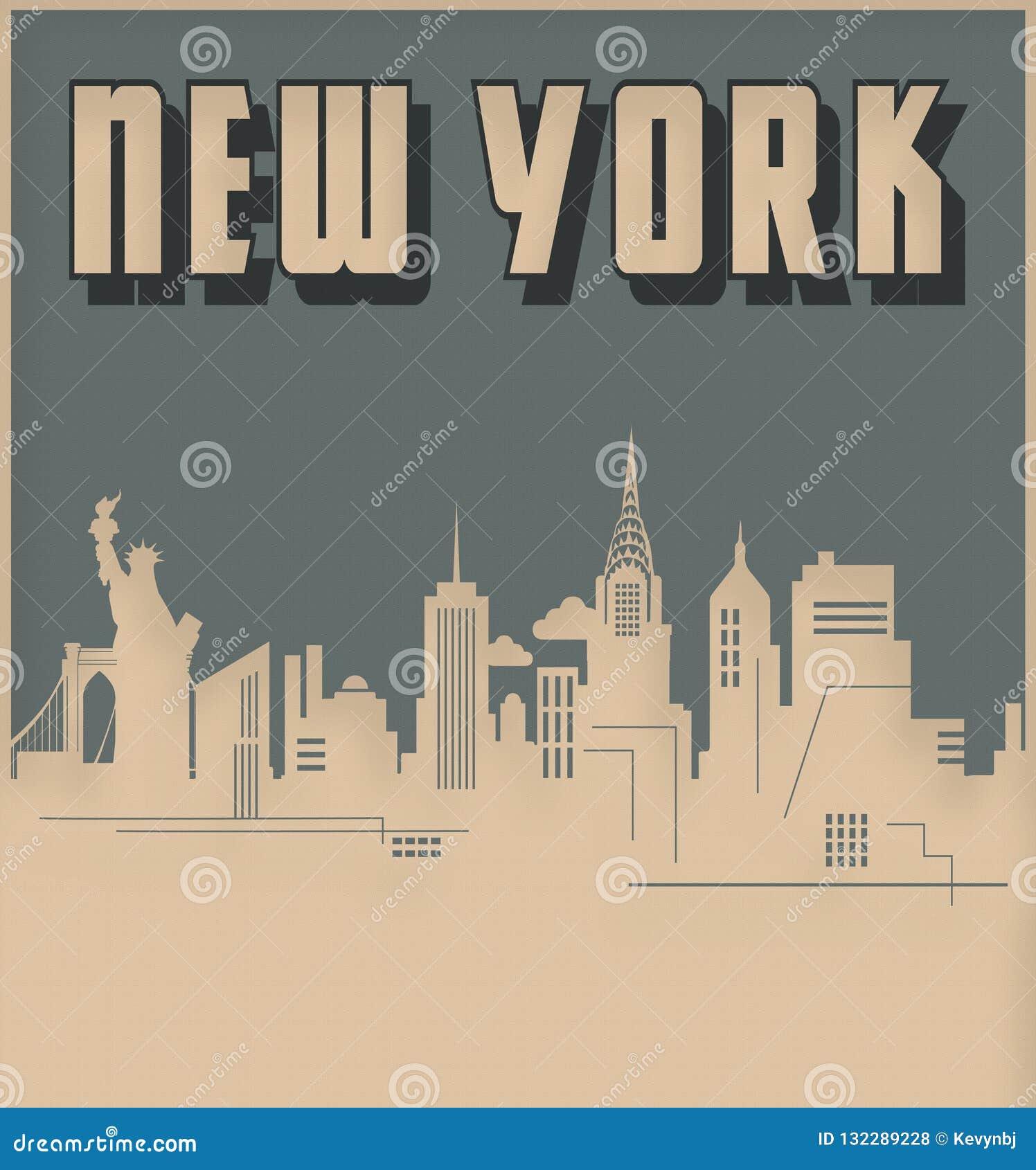 Miasto Nowy Jork linia horyzontu art deco stylu rocznik Retro