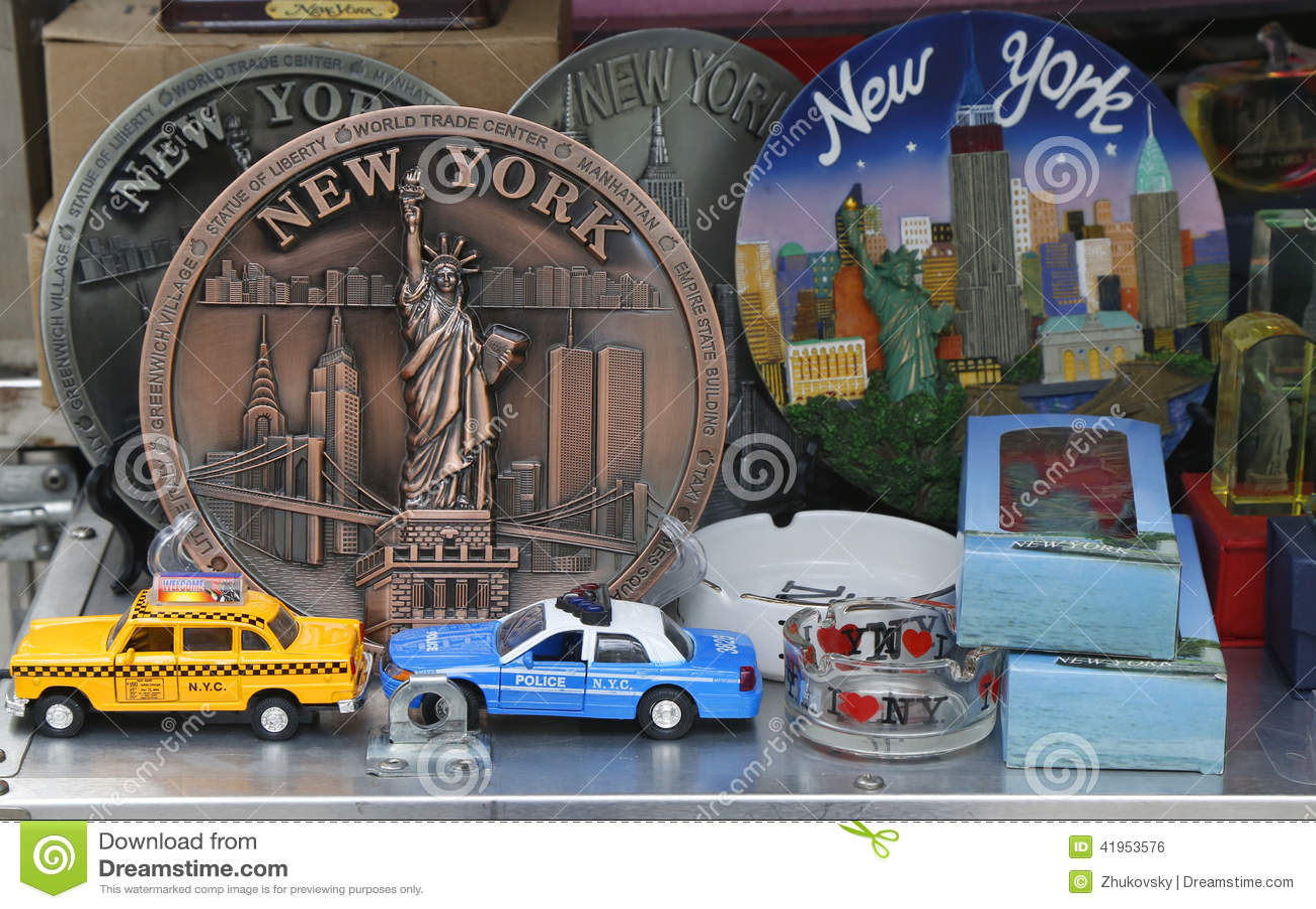 Miasto Nowy Jork pamiątki na pokazie w Manhattan