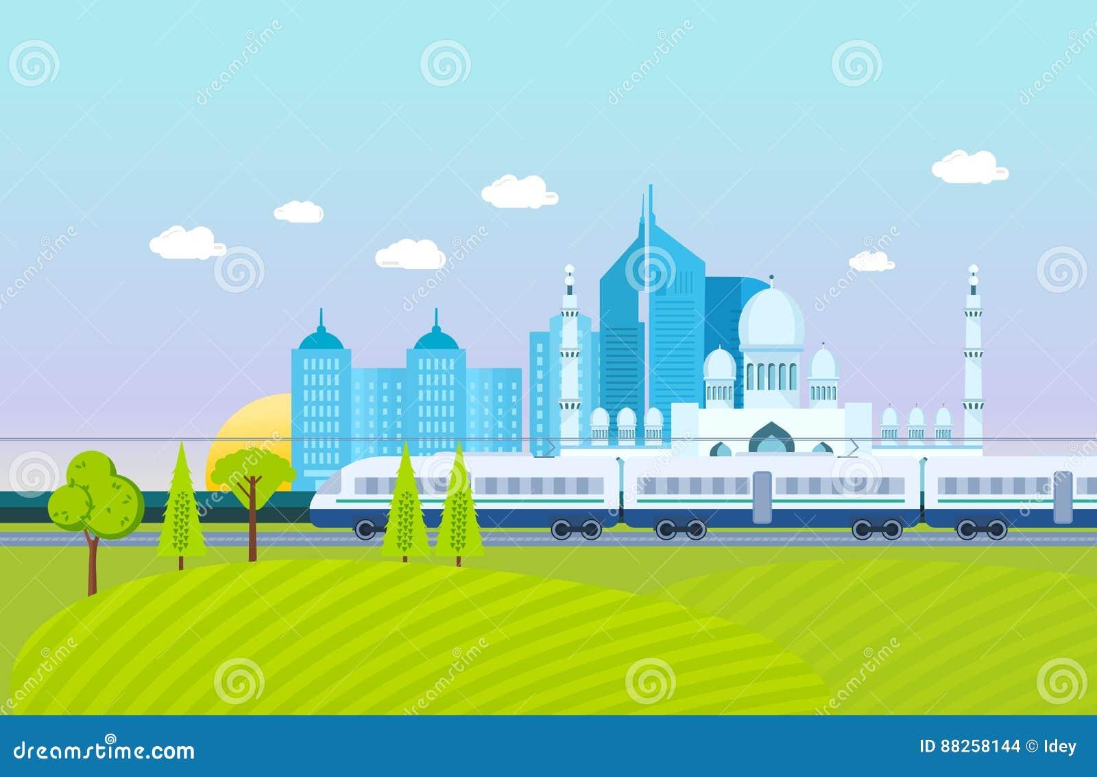Miasto, otoczenia krajobraz, pola i gospodarstwa rolne, metro, budynki, struktury