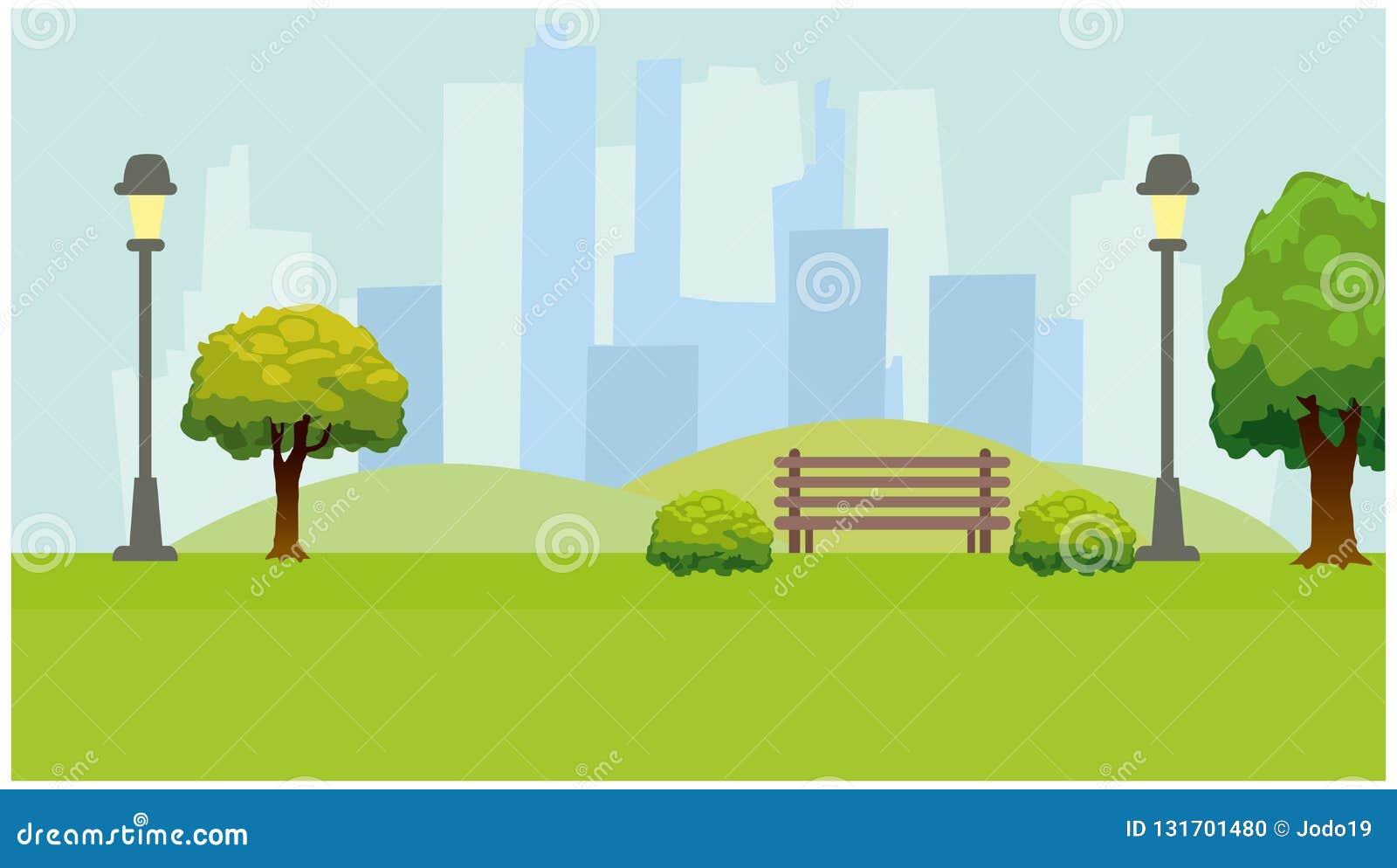 Miasto park, światła, drzewa, ławka Zielony horyzontalny tło