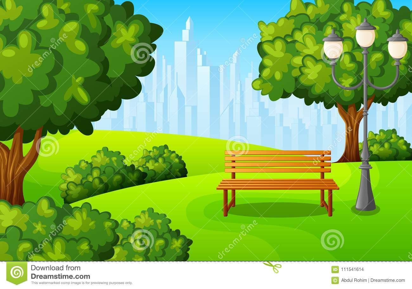 Miasto parkowa ławka z zielonymi drzewnymi i grodzkimi budynkami