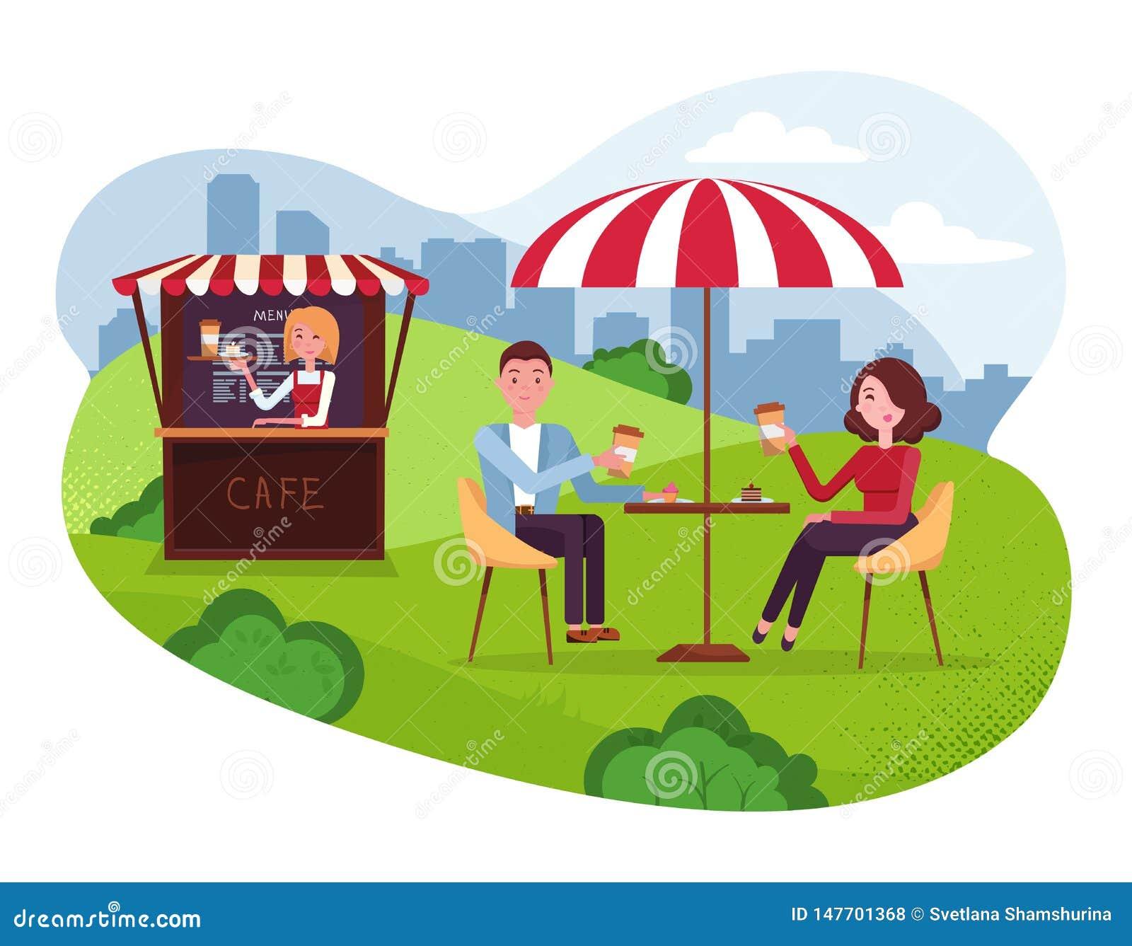 Miasto Parkowa kawiarnia z parasolem Para na weekend dacie Ludzie Pij? Coffe z tortami w Plenerowej Ulicznej kawiarni Park z outs