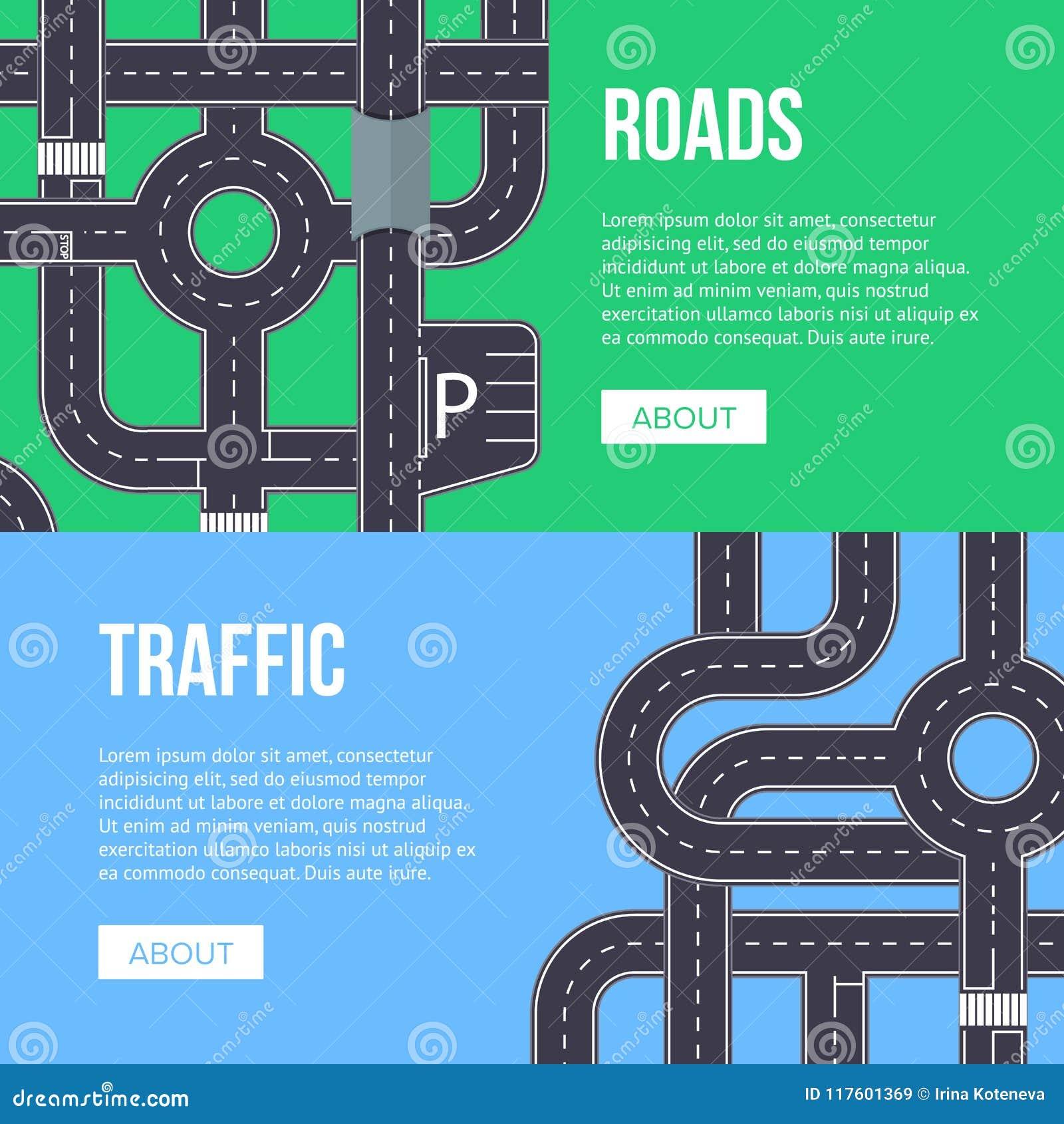 Miasto ruchu drogowego sztandar z autostrad drogami
