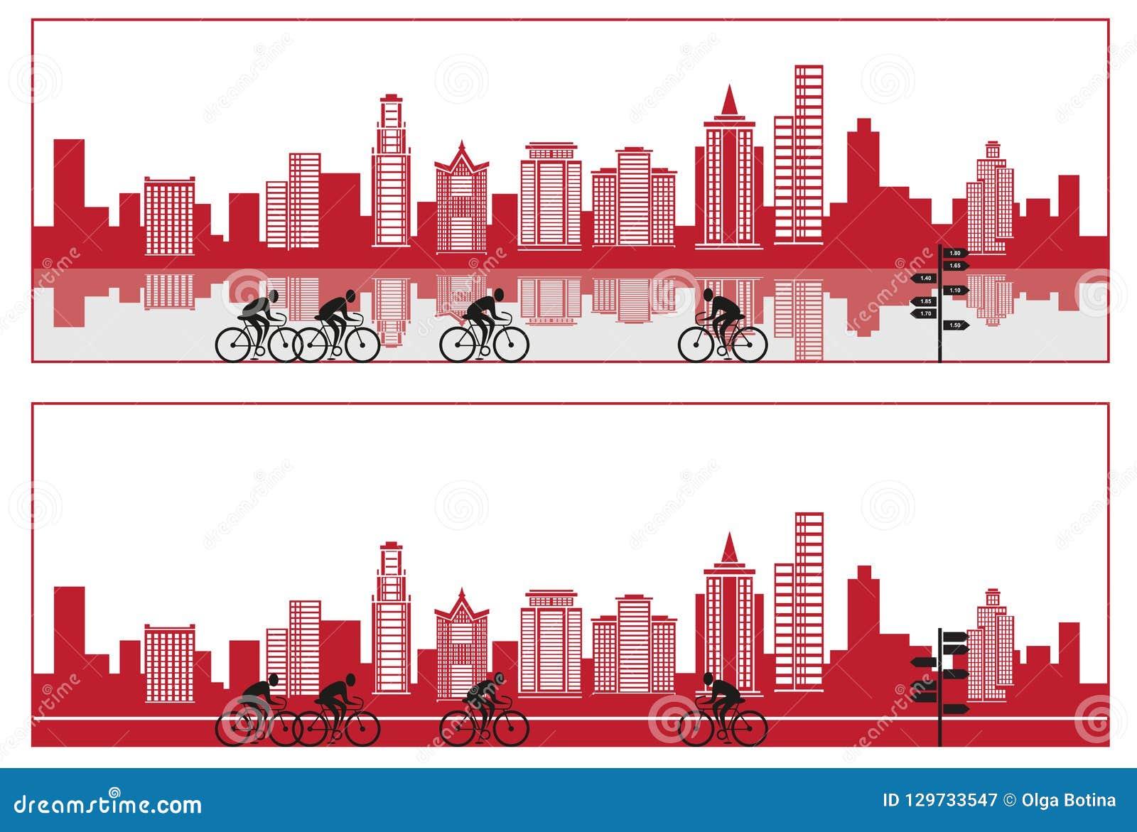 Miasto sylwetka z rowerem i odbiciem