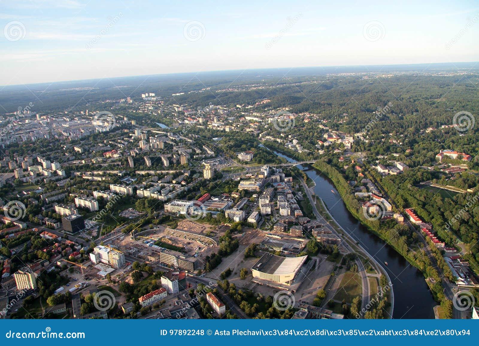 Miasto Vilnius Lithuania, widok z lotu ptaka