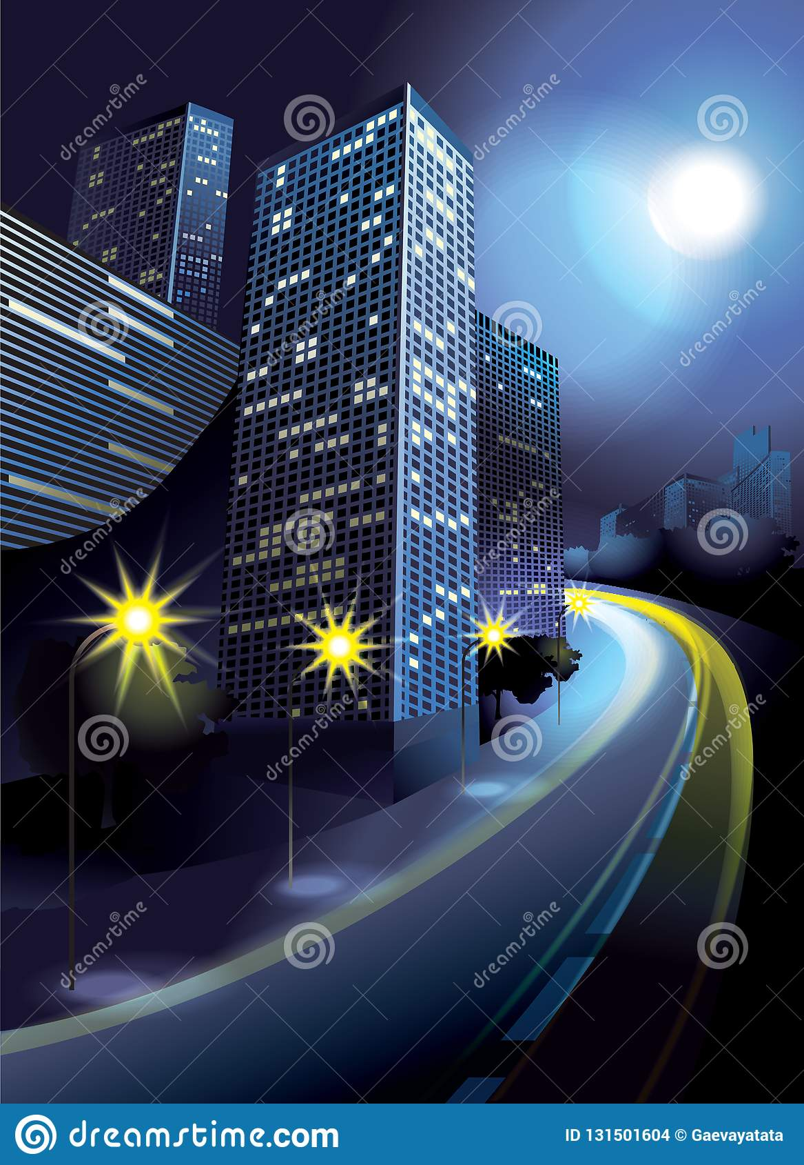 Miasto w blask księżyca z domami, drogą i lampionami,
