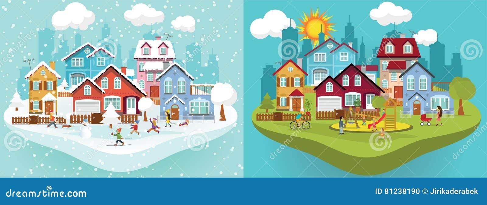 Miasto w zimie i lecie