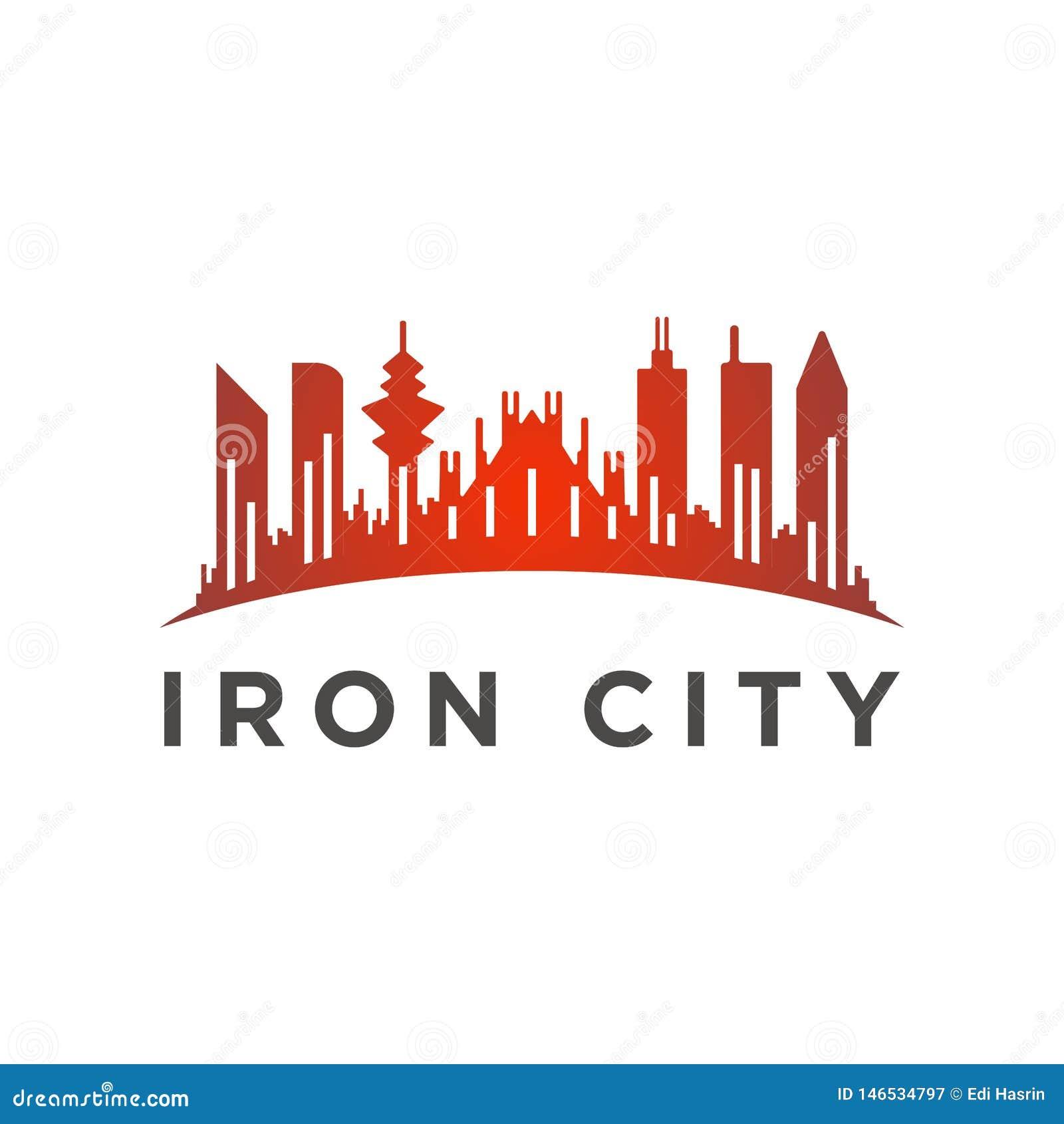 Miasto z wysokim basztowym logo szablonem