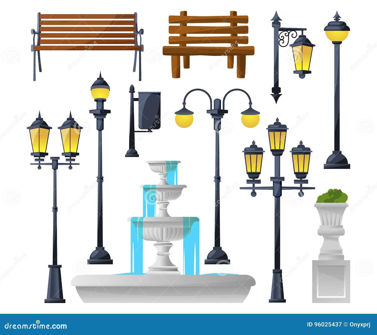 Miastowi elementy ustawiający Latarnie uliczne, fontanna, parkowe ławki i wastebaskets, również zwrócić corel ilustracji wektora