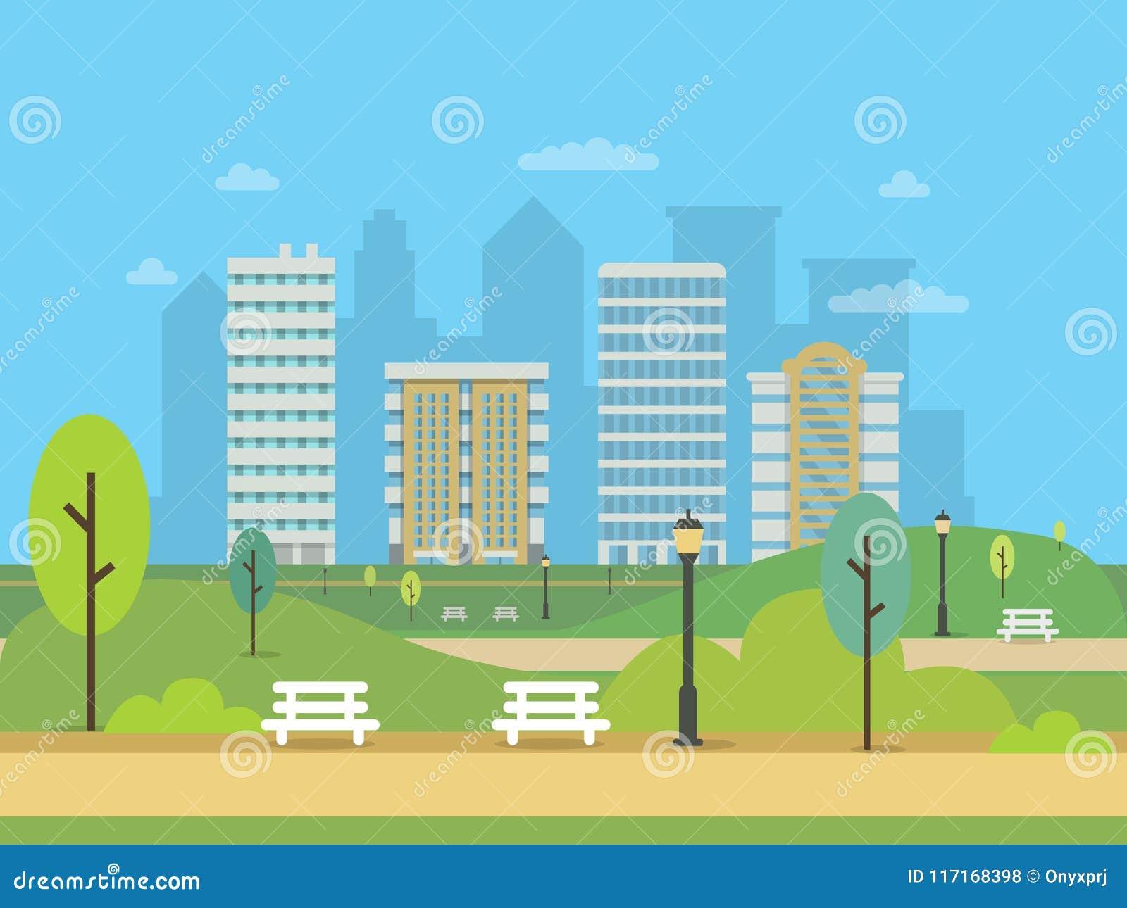 Miastowy krajobraz z różnorodnymi budynkami i zielonym centrala parkiem Ilustracje nowożytny miasto