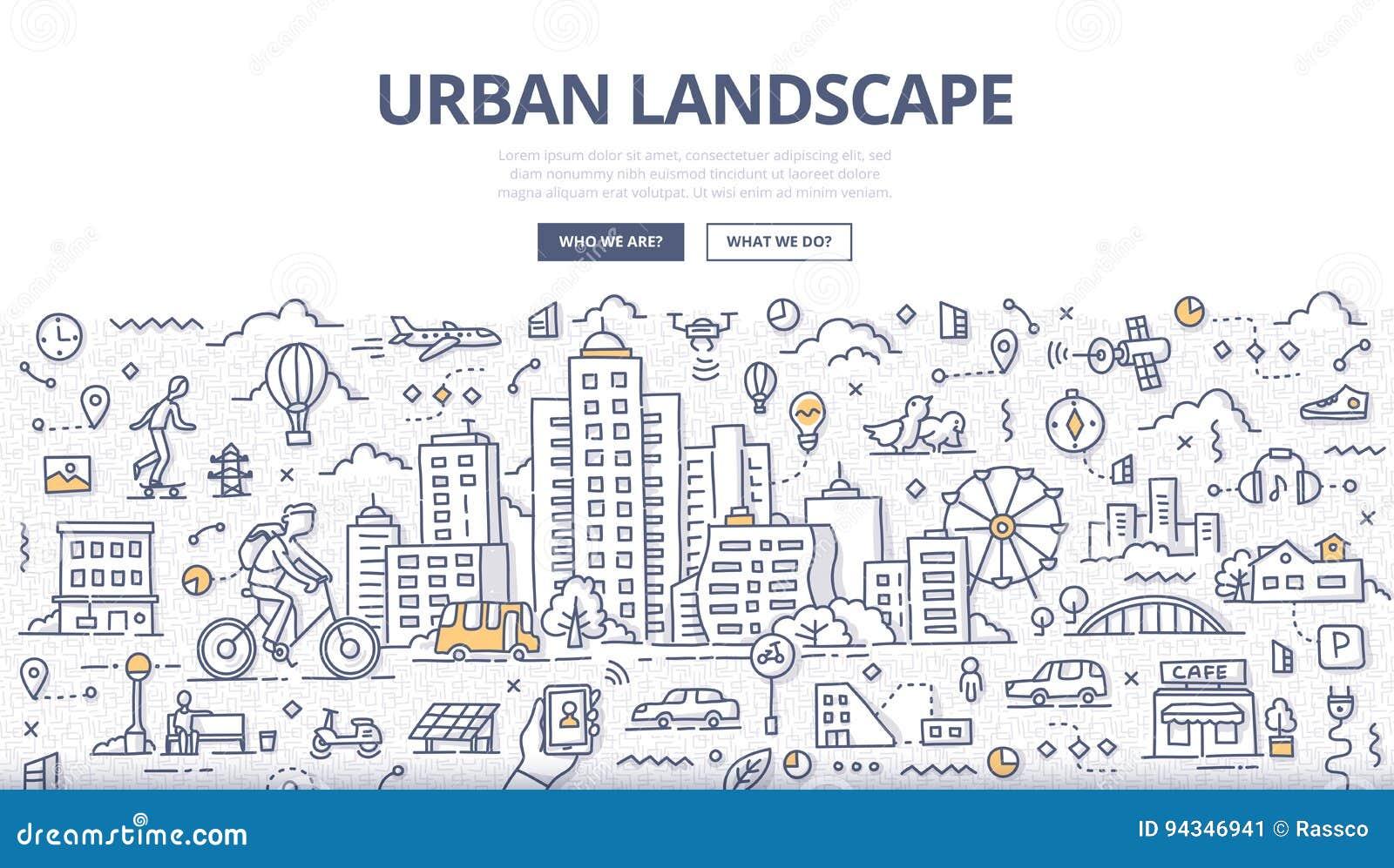 Miastowy Krajobrazowy Doodle sztandar
