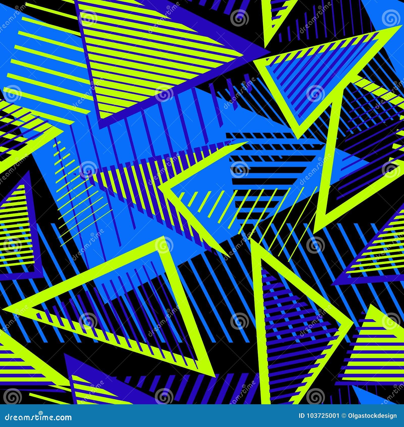 Miastowy sztuka sporta abstrakta wzór z neonowymi elementami, linie, trójboki, lampasy